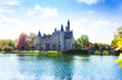 canvas print picture - View of Bornem Castle from the river side