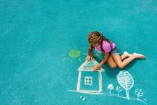 Little Black Girl Drawing Chalk House Image