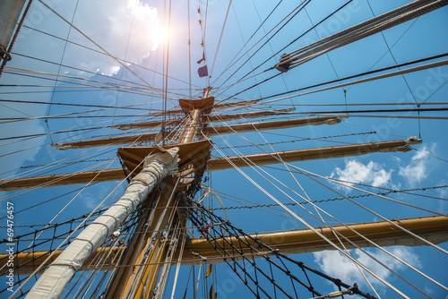 Valokuva  Masts with rigging of old sailing vessel