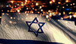 canvas print picture Israel National Flag Light Night Bokeh Abstract Background