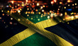 canvas print picture Jamaica National Flag Light Night Bokeh Abstract Background