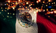 canvas print picture Mexico National Flag Light Night Bokeh Abstract Background