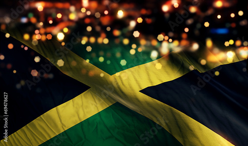 Fotomural Jamaica National Flag Light Night Bokeh Abstract Background
