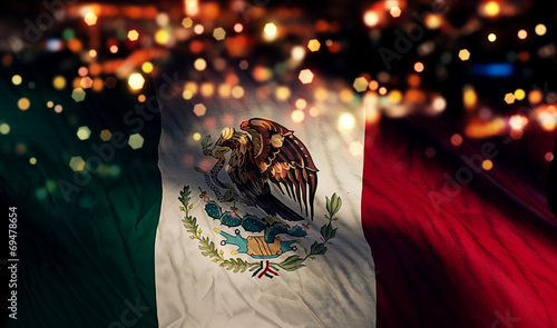 Photo Mexico National Flag Light Night Bokeh Abstract Background