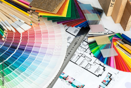 Fotografia  Selection of colors and materials for home renovation