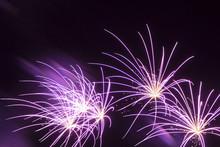 Wonderful Purple Fireworks Shining Stars Black Night Background