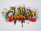 Fototapeta Młodzieżowe - Graffiti characters composition print