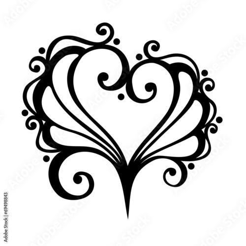 Printed kitchen splashbacks Butterflies in Grunge Vector Deco Abstract Heart. Design element