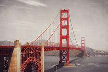 Golden Gate Bridge, San Francisco, USA. Retro Filter Effect