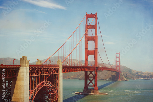 Golden Gate Bridge, San Francisco, USA. Retro filter effect
