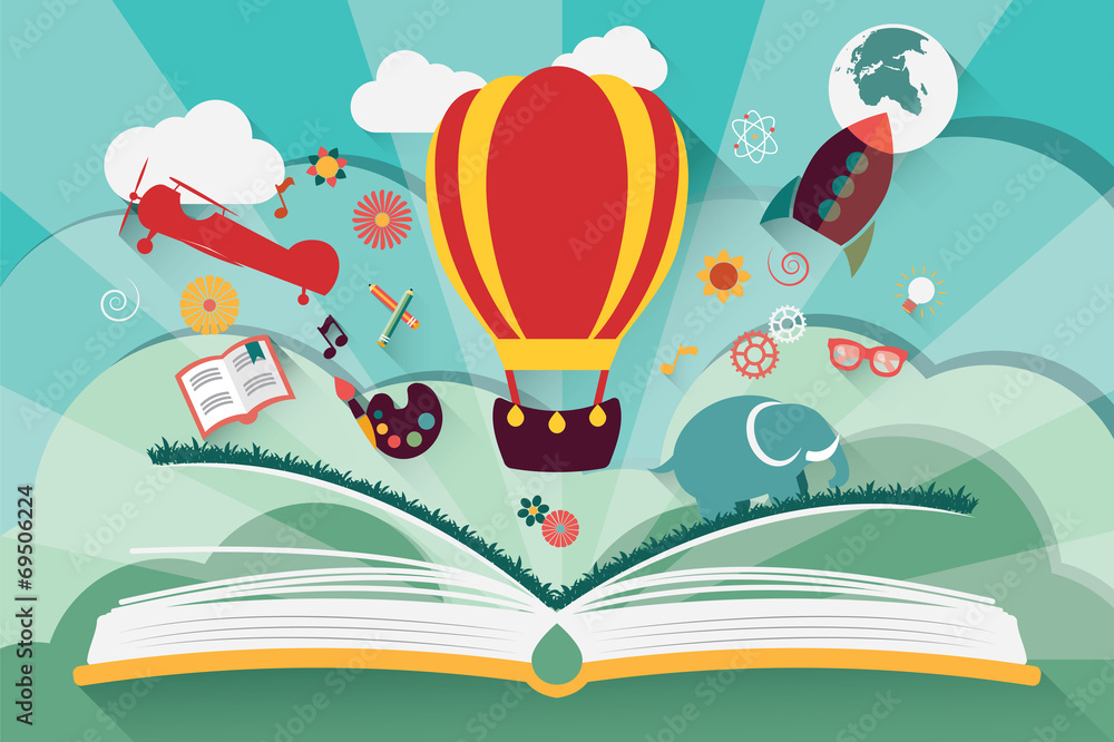 Fototapeta Imagination concept - open book with air balloon, rocket