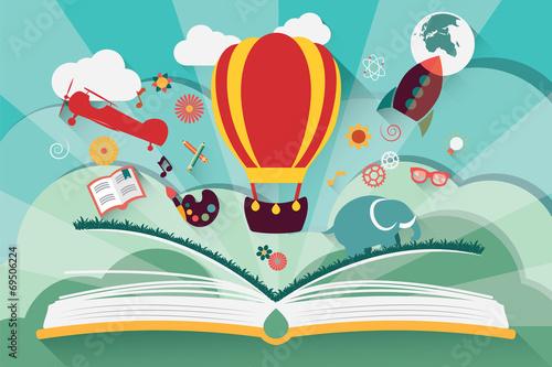 koncepcja-wyobrazni-otwarta-ksiazka-z-balonem-rakieta