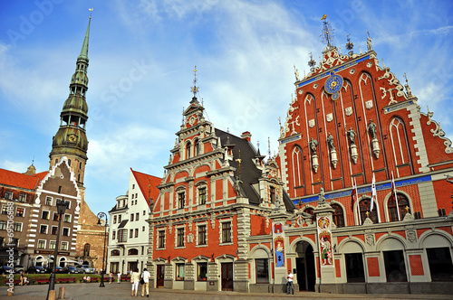 House of the Blackheads and the Cathedral of St. Pete in Riga, L Wallpaper Mural