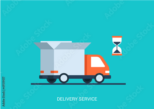 Fotografía  Flat style vector illustration delivery service truck shipping