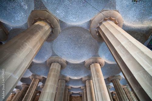 Poster Artistique Columns and Domes of Hypostyle Room in Park Guell