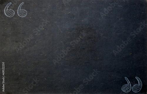 Fotografía  Blackboard Background with Quotation Marks in Chalk