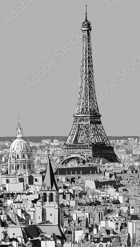 Roofs of Paris with Eiffel tower - 69524076