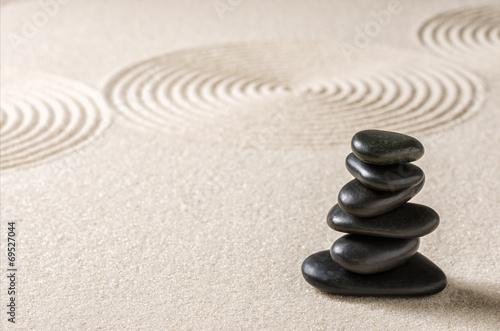 Tuinposter Stenen in het Zand Japanischer Zengarten