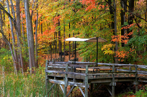 Aluminium Prints Autumn Picnic table on a wooden deck in autumn time