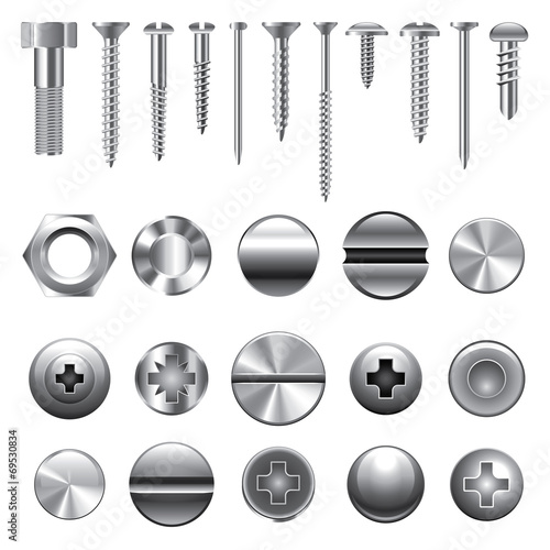 Fotografía Screws and nuts icons vector set