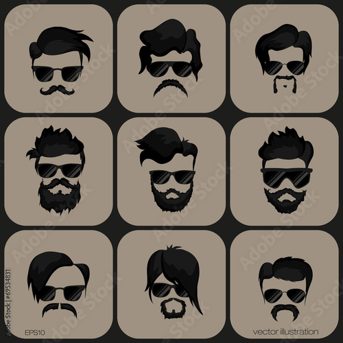 Fotografie, Obraz  mustache, beard and hairstyle hipster