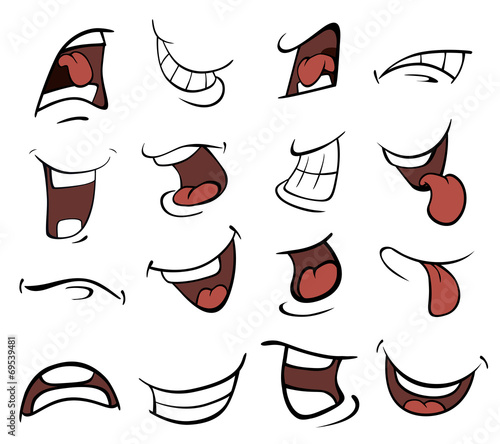 Set of mouths cartoon Canvas Print