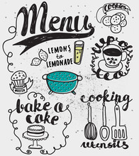 Doodles Themed Around Food And Drink