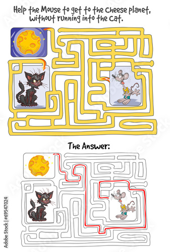 maze game with mouse cheese planet and cat answer included buy