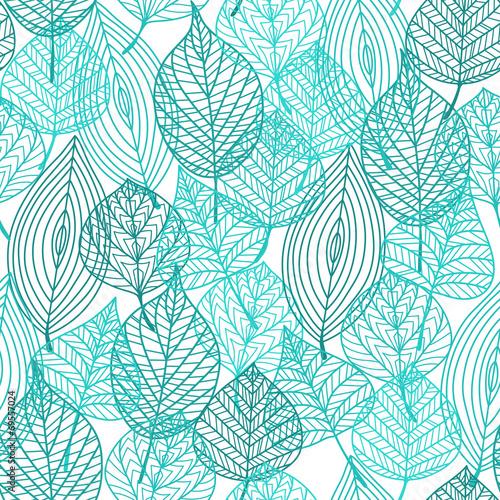 Papiers peints Artificiel Foliage green leaves seamless pattern