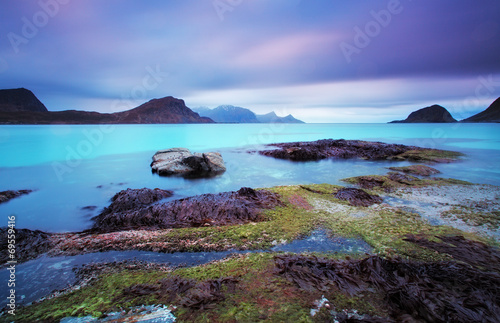 Photographie  Blue lagoon in Norway - long exposure