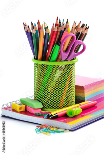 Fotografie, Obraz  Holder basket and office supplies isolated on white background