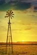 canvas print picture - African farm land and windmill