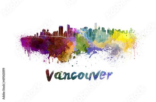 Fotografía  Horizonte de Vancouver en acuarela