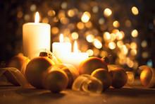 Warm Night Christmas Decorations On Magic Bokeh Background