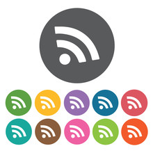 Wi Fi Symbol Icons Set. Round Colourful 12 Buttons. Vector Illus