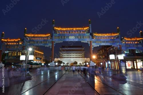 Poster Pekin Zhengyang Gate at night