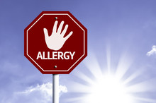 Stop Allergy Red Sign With Sun Background