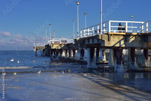 Fotobehang - Krajobraz Morski, zima, morze, molo, plaża