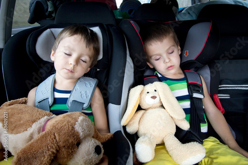 Two sweet boys, sleeping in the car with teddy bears Poster