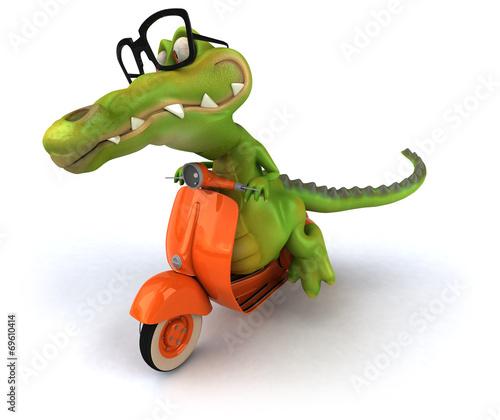 Foto op Canvas Motorfiets Fun crocodile