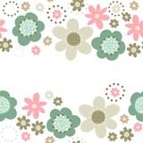 róż turkus brąz kwiaty i kropki poziomy border na białym tle