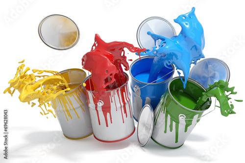 Keuken foto achterwand Vormen Farbdosen mit verschiedenen Farben