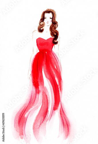 Fotobehang Aquarel Gezicht woman in dress