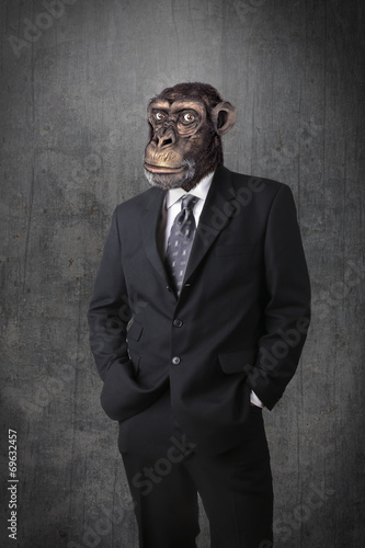 Deurstickers Aap Monkey businessman