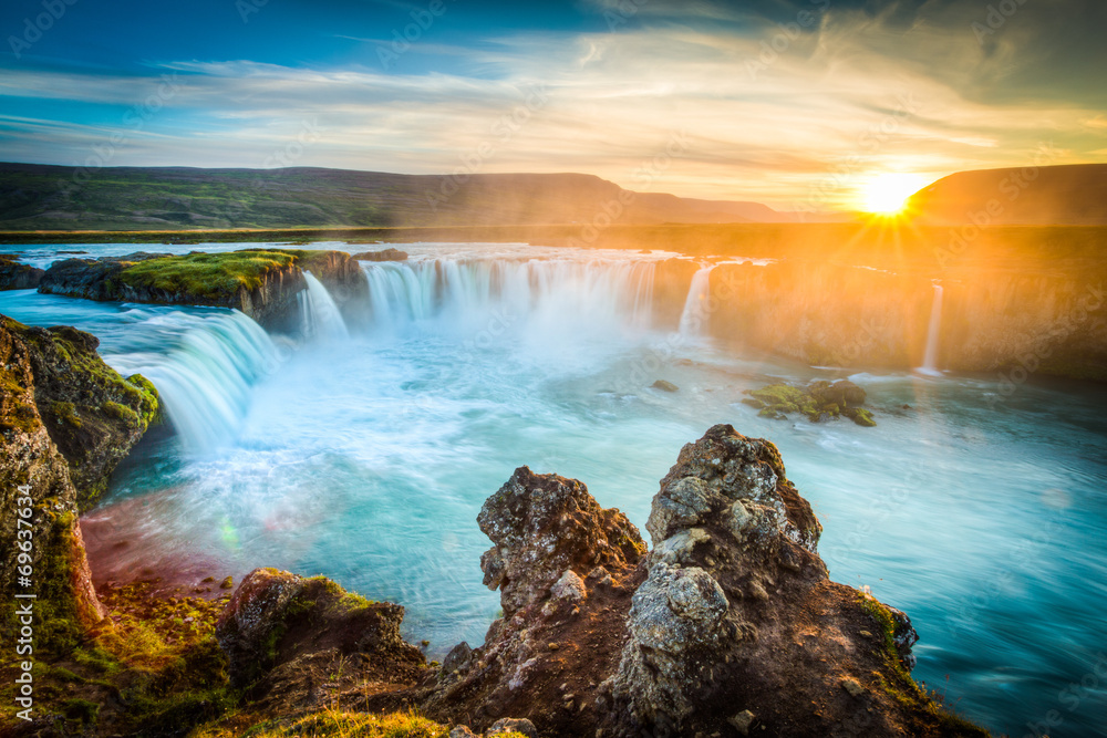 Fototapeta Iceland, Godafoss at sunset, beautiful waterfall, long exposure