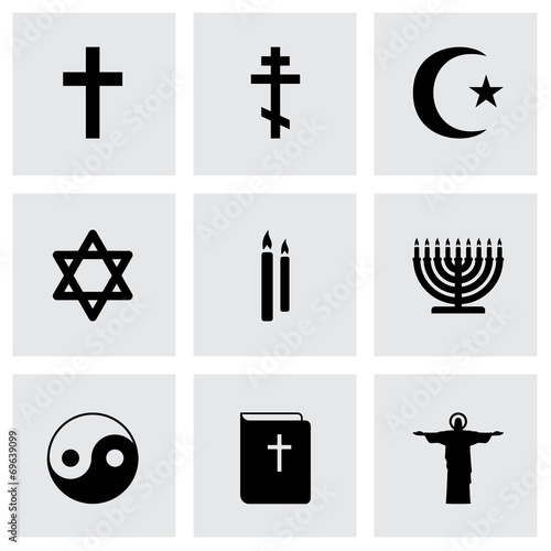 Vector black religion icons set #69639099