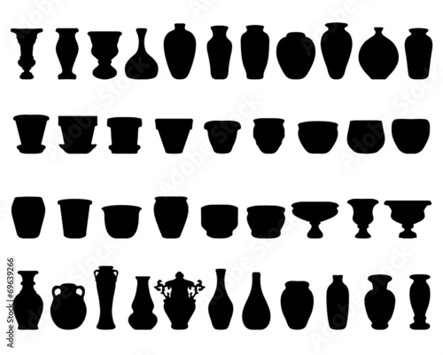 Fototapeta Black silhouettes of pottery and vases, vector