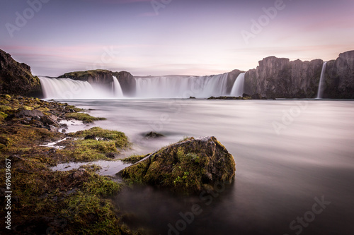 Poster Grijze traf. Iceland, Godafoss at sunset, beautiful waterfall, long exposure