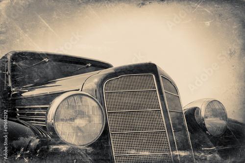 fototapeta na lodówkę fragment starego samochodu, rocznika stylizowane