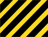 Industrial striped road warning yellow-black pattern vector - 69645279